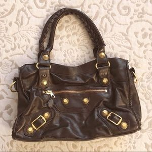 Handbags - Brown Gold Studded Motorcycle Leather Purse